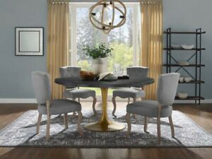 """Drive 60"""" Oval Wood Top Dining Table, Ebony - MCM TULIP FREE SHIPPING"""
