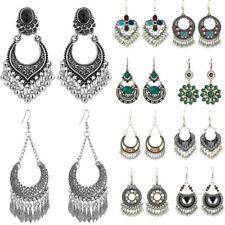 Ladies Women Boho Bohemian Oval Drop Bead Fashion Silver Statement Earrings