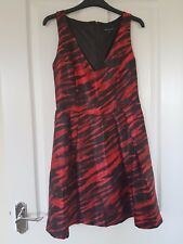 ASOS French Connection Red Black Tiger Print V Neck Skater Party Dress Size 10