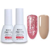 2x Nude + Glitter Pink Gel Nail Polish UV LED Varnish Soak Off Born Pretty 10ml