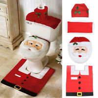 4PCS Set Christmas Santa Toilet Seat Cover Rug Bathroom Mat Paper Box Decor