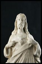 † 19TH SACRED HEART of JESUS CHALKWARE PIERACCINI & PELISSIER TOURS - FRANCE †