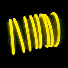 "(50) 8"" GLOW LIGHT STICKS BRACELETS - NEON YELLOW - PREMIUM - GLO LITE PARTY"