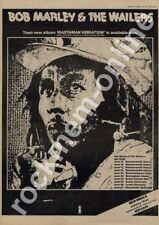 Bob Marley & Wailers Rastaman Vibration Exeter University LP Tour advert 1976