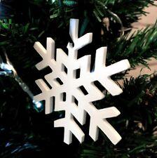 cristal blanc flocon de neige Noël Arbre Décorations & VERT RUBAN x 10