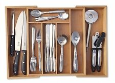 Expandable Bamboo Cutlery Utensil Tray 5 to 7 Compartments Adjustable Trays