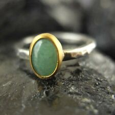 Handmade Hammered 24K Gold Over 925K Silver Two Tone Natural Jade Stack Ring