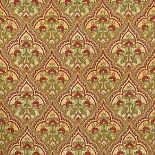 Mill Creek SPRING Green Red Medallion Print Home Decor Cotton Drapery Fabric