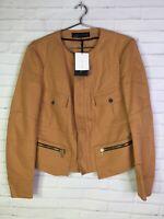 Zara Womens Military Style Golden Tan Cropped Jacket Blazer Gold Trim Size Large