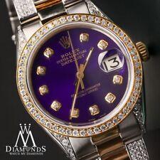 Women's 31mm Rolex Oyster Perpetual Datejust Custom Purple Color Diamonds Dial