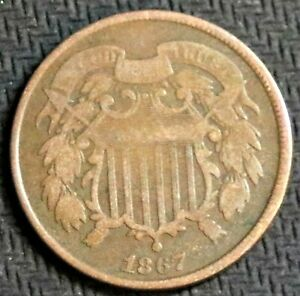 1867 Two Cent Coin - Very Good/ Fine - #32999