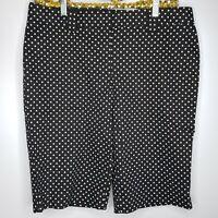 Express EDITOR Black White Capri Polka dot Dress Pants Shorts Sz 10