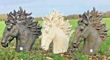 Stallion Head Horse Statue Sculpture Ornament Garden Outdoor Bronze Black White