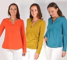 WHITE STUFF Jersey Tunic Top Notch Neck Long Sleeve Mustard Orange Teal RRP £39