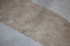 "$1 yard Cream Tan Nude stretch scalloped Lace Lingerie sewing craft 3.25"" wide g"