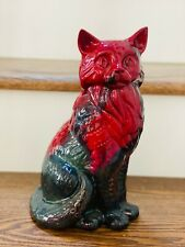 Vtg Mcm Royal Doulton Veined Flambe Cat Figurine 11 1/2'' Signed Large