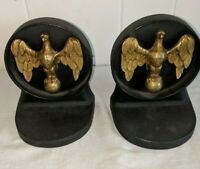 Gorgeous Antique Pair Brass Eagle Standing on a Ball Cast Iron Bookends