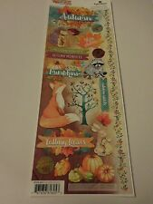 "Scrapbooking Stickers Paper House 13"" Autumn in Air Woods Fox Pumpkins Leaves"