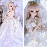60cm 1/3 BJD Doll Puppe Mädchen Puppen Mit Augen Make-up Perücken Hochzeitskleid