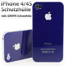 iPhone 4 4S Schutz hochglanz Case inkl Schutzfolie Hülle Tasche Design in blau