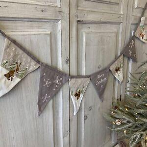 1.2m Embroidered Woodland Animal Christmas Bunting Hare Fox Deer Fabric