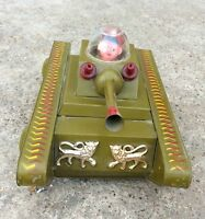 VINTAGE RARE GREEN WIND UP LITHO WAR TANK TIN TOY WITH RIDER, JAPAN?