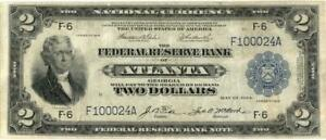 National Currency FRB $2 Atlanta FR 762 Banknote 1918