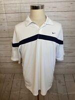 Nike Golf short sleeve medium striped shirt polo mens blue white