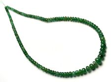 """NATURAL GEMSTONE ZAMBIA EMERALD SMOOTH 4 TO 9MM RONDELLE BEADS STRAND 15"""""""