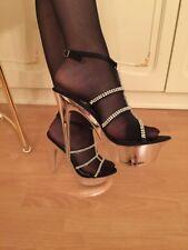 Satin Nylon Strass Sandalette Stilettos Stöckel Gr 39 Glamour Luxus extrem sexy