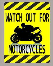 """WATCH OUT FOR MOTORCYCLES"" Sport Bike sign FREE SHIPPING 9""X12"""
