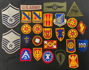 Job Lot Collection Of 27 US United States Military Uniform Badges Patches