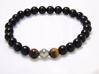 Black Obsidian Tiger Eye Bracelet Natural Quartz Crystal Healing Stone Unisex