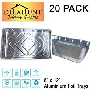 "20 x NEW Aluminium Foil Baking Trays Large Oven Tray Bakes Disposable 12 x 8"""