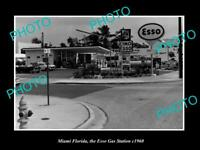 OLD POSTCARD SIZE PHOTO OF MIAMI FLORIDAVIEW OF THE ESSO GAS STATION c1960