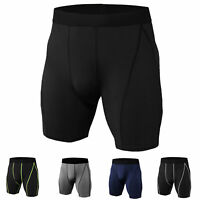 Men's Compression Shorts Athletic Sports Workout Quick-dry Bottom Plain Stretchy