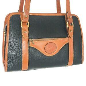 Dooney & Bourke Vintage All Weather Leather Double Shoulder Strap Black & Tan 🇺