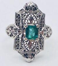 Vintage Art Deco 14k White Gold 1/2 Ctw Emerald Filigree Ring