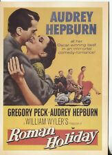 POST CARD OF A  MOVIE POSTER ROMAN HOLIDAY WITH GREGORY PECK & AUDREY HEPBURN