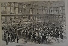 Harper's Weekly, 1876. The Centennial Banquet in Horticultural. Wood Engraving.