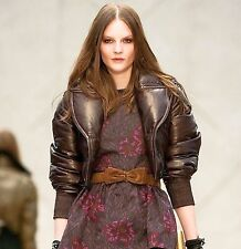 $4,995 RUNWAY Burberry Prorsum 4 6 38 Leather Down Bomber Jacket Women Lady B