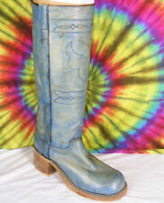 8.5 B vintage 70's ladies turquois leather JUSTIN knee-high campus boots NOS