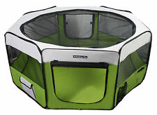 "37"" Portable Puppy Pet Dog Soft Tent Playpen Folding Crate Pen New - Lime Green"