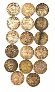 Collection of Antique 1912-1922 KING GEORGE V SILVER Threepence Coins - N21