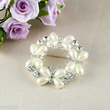 BR1 Wedding Bridal Prom Pearl with Crystals Butterfly Flower Corsage Pin Brooch