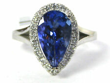 Tanzanite Ring 14K white gold Pave Halo AAA Certified Natural 2.99ct