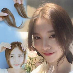 Women Thin Neat Air Bangs Human Hair Clip Fringe Front Neat Hairpiece Extensions