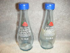 CLEARLY CANADIAN SUMMER STRAWBERRY BOTTLE SALT & PEPPER SHAKERS WITH BLUE LIDS