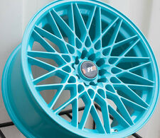 4 NEW 18X9.5 +20 FULL TEAL BLUE F1R F23 5X100 5X114.3 WHEEL 5X4.5 JDM CONCAVE