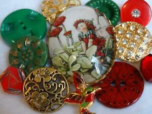 FABULOUS VINTAGE & NEW BUTTONS Bubble Glass Cameo Metal Rhinestone Pearl Red +